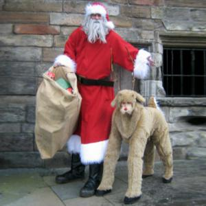 Giant Santa and Reindeer stroling street theatre act