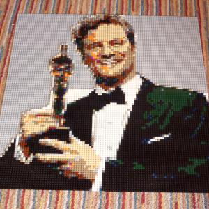 Colin Firth with Oscar mosaic in Lego
