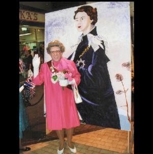 Comedy Queen Elizabeth with spoof painting by numbers portrait