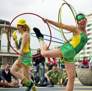 Olympic themed comedy hula hooping show