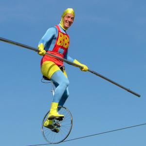 comedy highwire act- Superman style