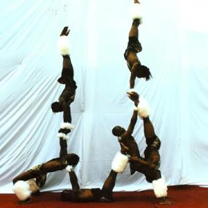 African themed acrobatics and limbo show